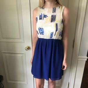 Sleeveless blue  gold sequin cocktail dress